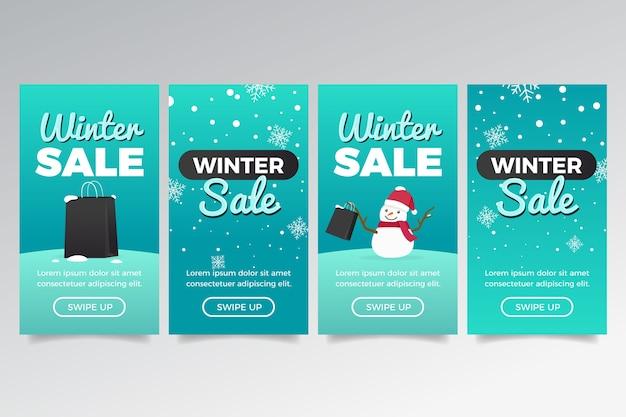 Zimowa wyprzedaż instagram story ze śniegiem i bałwanem