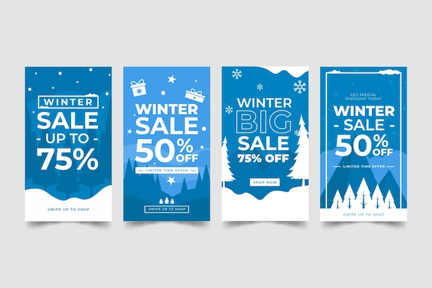 Zimowa wyprzedaż kolekcja historii na instagramie