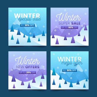 Zimowa wyprzedaż kolekcji postów na instagramie