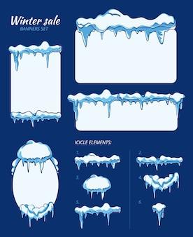 Zimowa wyprzedaż naklejek, tagów i banerów z soplami. mróz zimny arkusz, kryształ śniegu. zestaw ilustracji wektorowych