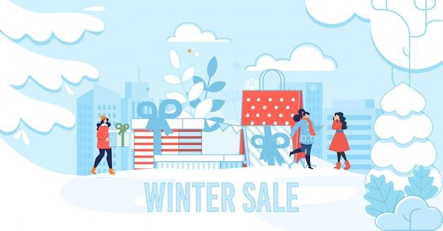 Zimowa wyprzedaż napis plakat do sklepu i butiku