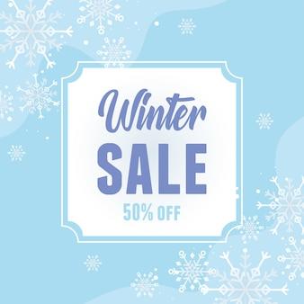 Zimowa wyprzedaż oferuje baner płatki śniegu sezon zniżki