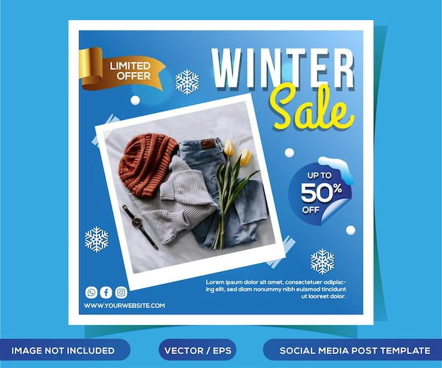Zimowa wyprzedaż szablon postu w mediach społecznościowych