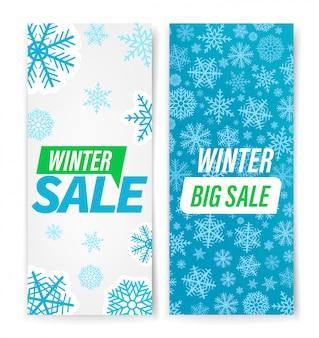 Zimowa wyprzedaż transparent z zestawem płatki śniegu