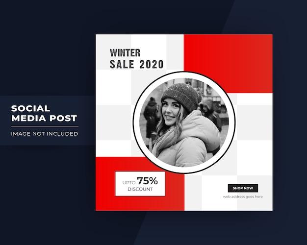 Zimowa wyprzedaż w mediach społecznościowych post na instagram
