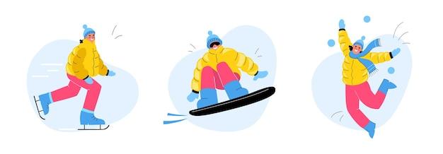 Zimowa zabawa. zestaw ludzi sport zimowy. kobieta na łyżwach. mężczyzna na snowboardzie. dziecko gra w śnieżki