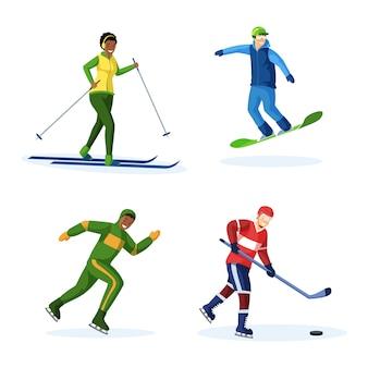Zimowe aktywności płaskie wektor zestaw ilustracji