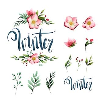 Zimowe akwarela kaligrafii typografii wektor