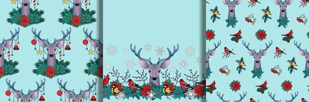 Zimowe bezszwowe wzory ustawione z jeleniem
