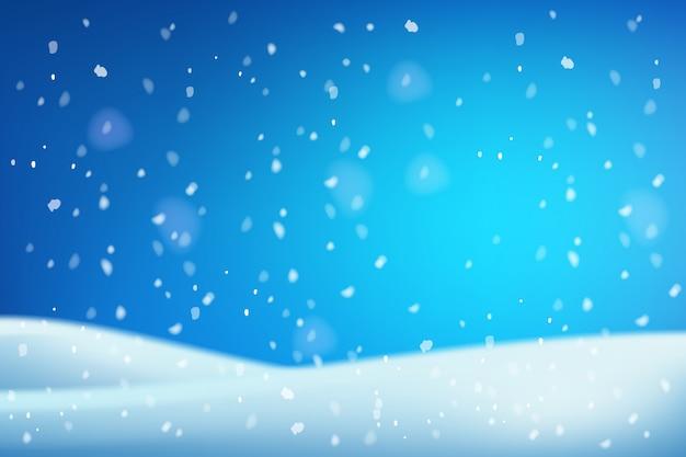 Zimowe boże narodzenie biały niebieski zaspy śnieżne z błyszczącym śniegiem i zamieci.