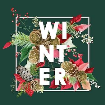 Zimowe boże narodzenie projektowe kwiaty z sosnami