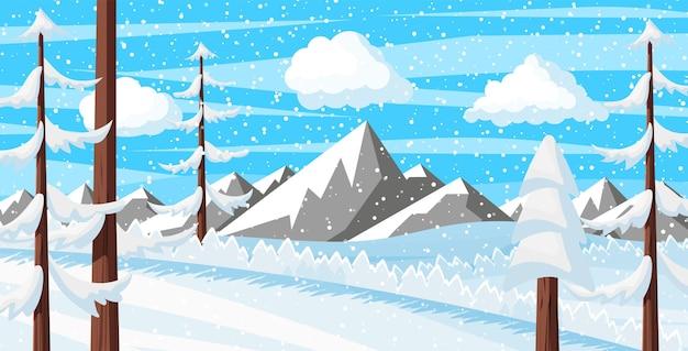 Zimowe boże narodzenie tło. drewno sosnowe i śnieg. zimowy pejzaż z jodłowymi lasami, górami i śniegiem. szczęśliwego nowego roku. boże narodzenie nowy rok. ilustracja wektorowa płaski styl