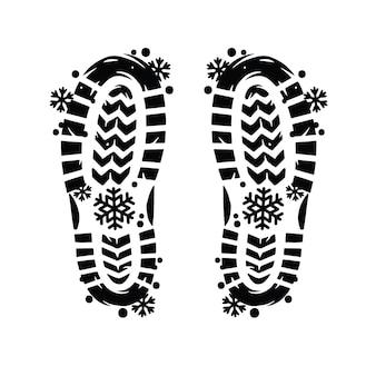 Zimowe buty z nadrukiem stóp