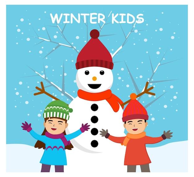 Zimowe dzieci, szczęśliwe dzieci w płaskiej konstrukcji