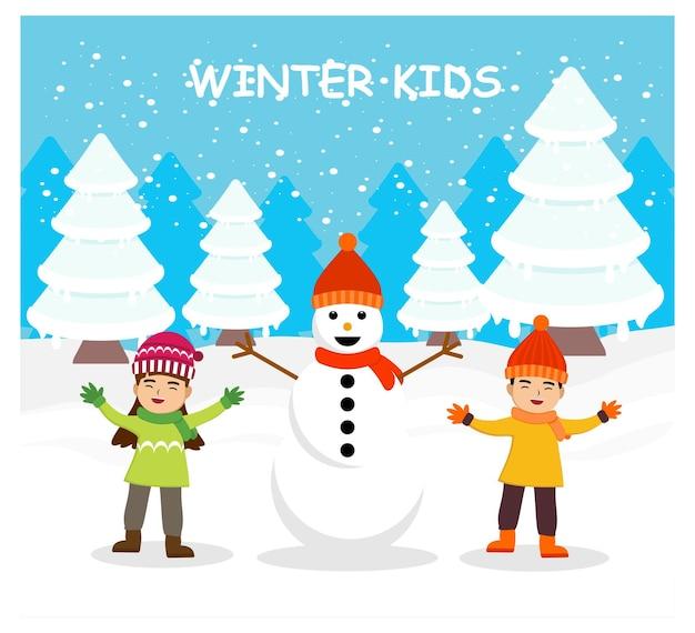 Zimowe dzieci w płaskiej konstrukcji