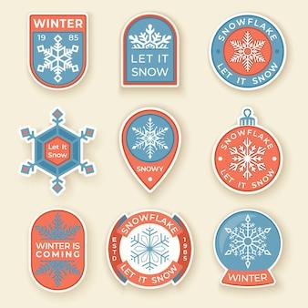 Zimowe etykiety i odznaki