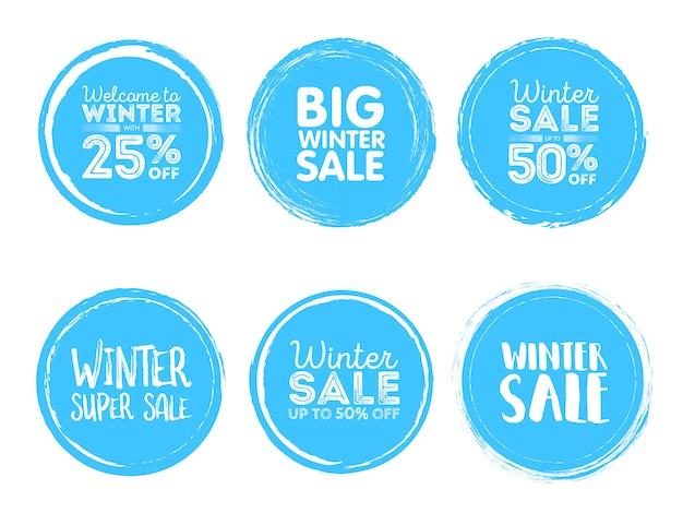 Zimowe etykiety sprzedaży