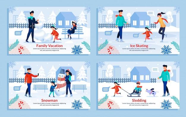 Zimowe happy family entertainment płaski zestaw ilustracji