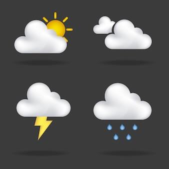 Zimowe ikony na czarnym tle ilustracji wektorowych
