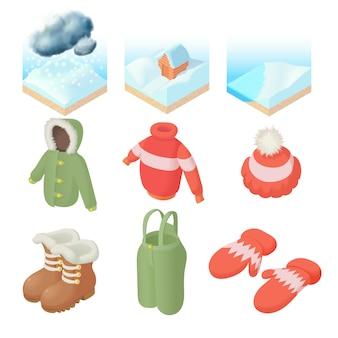 Zimowe ikony ustaw w stylu kreskówki