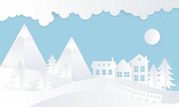 Zimowe ilustracje z domami i pociągami parowymi