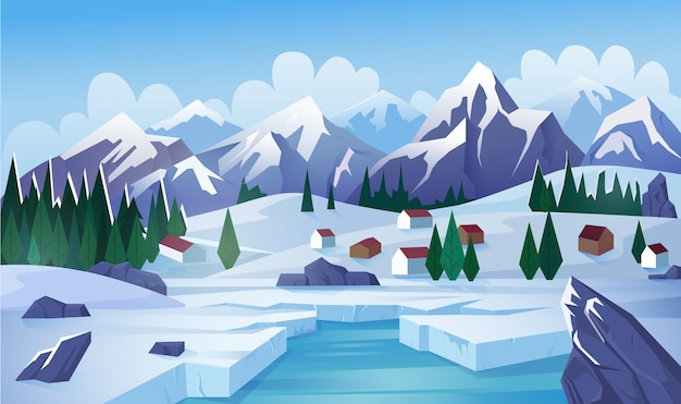 Zimowe jezioro płaskie. wiejski krajobraz, wieś, góry, wioska górska, domki nad jeziorem, domki. zimowy dzień, mroźna pogoda, zamarznięty staw, lód na cieku