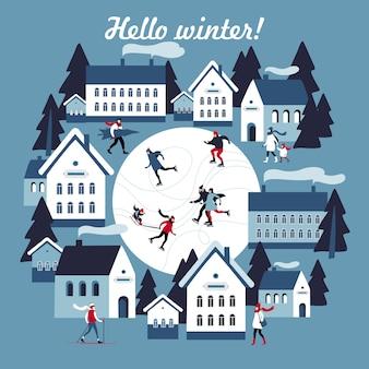 Zimowe kartkę z życzeniami z łyżwiarstwem publicznym w małym zaśnieżonym miasteczku. ilustracji wektorowych.