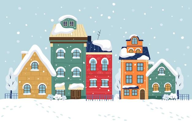 Zimowe miasto ilustracja. pejzaż miejski z budynkami