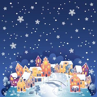 Zimowe miasto w nocy ilustracji wektorowych