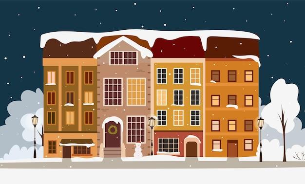 Zimowe miasto w nocy koncepcja. śliczne domy w noc bożego narodzenia. ręcznie rysowane ilustracji wektorowych.