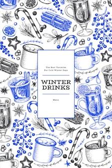 Zimowe napoje niebieski i czarny szablon.