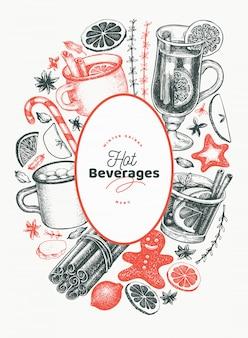 Zimowe napoje wektor szablon projektu. ręcznie rysowane grawerowane styl grzane wino, gorąca czekolada, przyprawy ilustracje