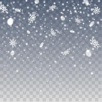 Zimowe opady śniegu. realistyczne spadające płatki śniegu. wektor obfite opady śniegu, płatki śniegu o różnych kształtach