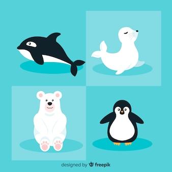 Zimowe opakowanie zwierząt morskich