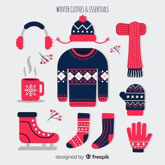 Zimowe płaskie ubrania i niezbędne rzeczy
