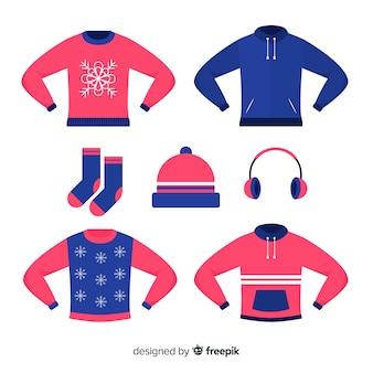 Zimowe płaskie ubrania