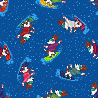 Zimowe pozdrowienia z psami w kolorowych swetrach są teraz na pokładzie