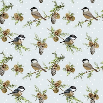 Zimowe ptaki retro wzór