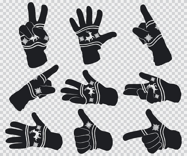 Zimowe rękawiczki z reniferem i płatkami śniegu. zestaw gestów dłoni czarna sylwetka na przezroczystym tle.