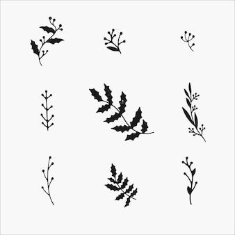 Zimowe rośliny i elementy botaniczne. słodkie ręcznie rysowane ilustracje, izolat prosty czarno-biały