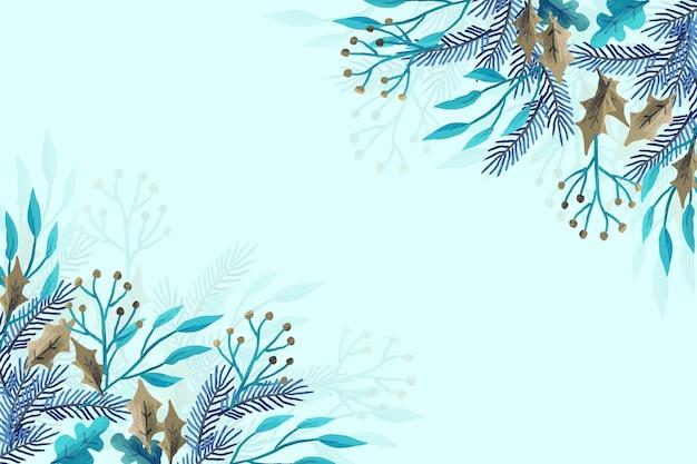 Zimowe rośliny wykonane akwarelami