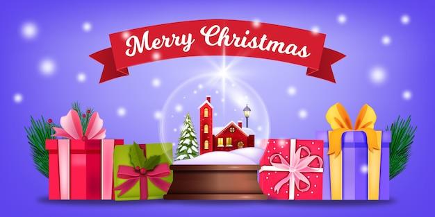 Zimowe święta z kulą śnieżną, pudełkami na prezenty, wstążką, świecącymi światłami. tło wakacje x-mas i nowy rok z kryształowej kuli ziemskiej, prezenty. powitanie świąteczna pocztówka z śnieżną kulą