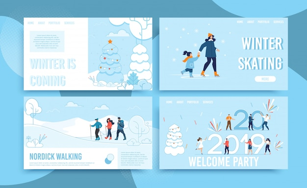 Zimowe święto i zabawa zestaw stron internetowych