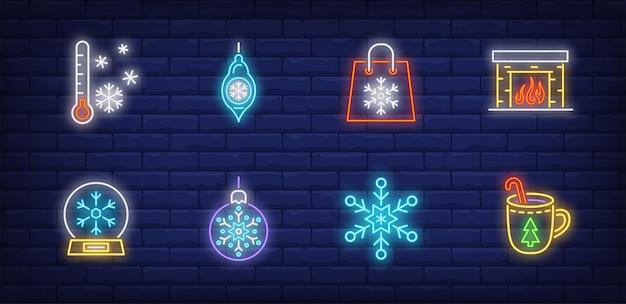 Zimowe symbole ustawione w stylu neonowym