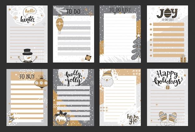 Zimowe szablony notatek, list do zrobienia i kupienia.