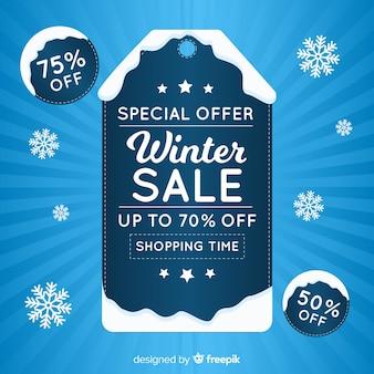 Zimowe tło sprzedaży zimowych dźwięków etykiety