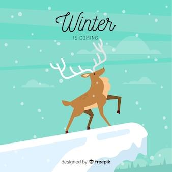 Zimowe tło jelenia