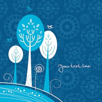 Zimowe tło kreskówki z drzewami i ptakami