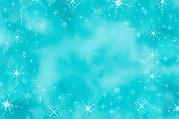 Zimowe tło w niebieskiej akwarela