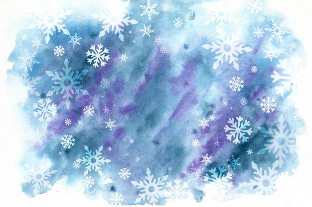 Zimowe tło w stylu przypominającym akwarele